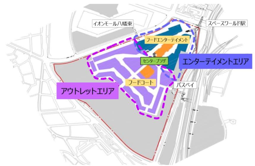 スペースワールド跡地再開発 八幡東田プロジェクト(イオンモール) ゾーニング計画図