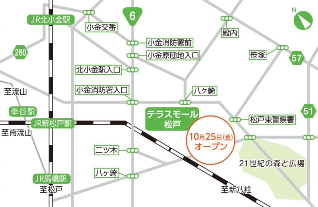 テラスモール松戸(周辺の地図)