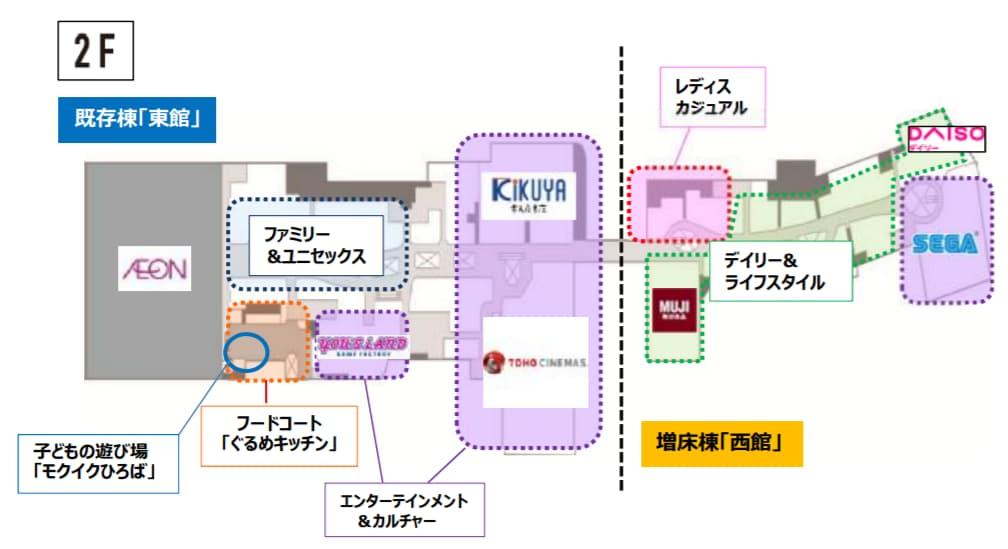 イオンモール高岡のリニューアル フロア構成2階