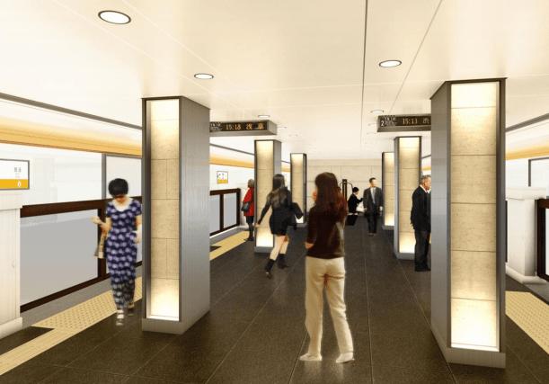 銀座線のリニューアル情報(京橋駅のホームのイメージ図)