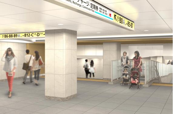 銀座線のリニューアル情報(日本橋駅の銀座線コンコースのイメージ図)