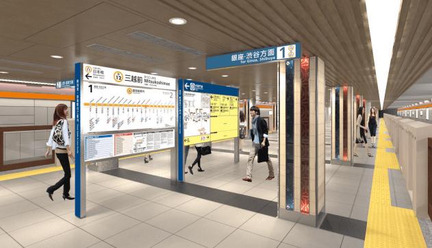 銀座線のリニューアル情報(三越前駅のホームのイメージ図)