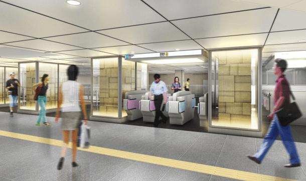 銀座線のリニューアル情報(京橋駅の改札口(渋谷方面)のイメージ図)