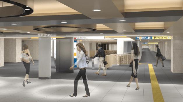 銀座線のリニューアル情報(三越前駅の改札口(渋谷方面)のイメージ図)