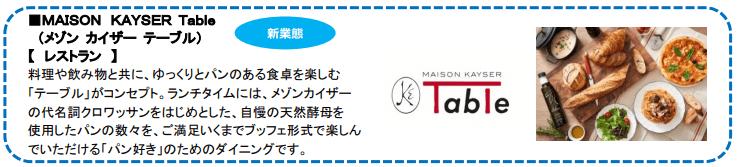 渋谷ヒカリエのリニューアル情報(メゾン カイザー テーブル)