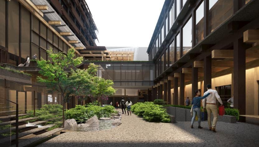 新風館跡地の再開発計画であるエースホテル京都・商業施設情報(中庭のイメージ図)