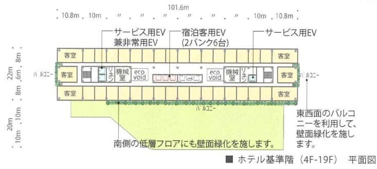 JR新今宮駅前の星野リゾートの都市観光ホテル情報(4階~19階平面図)