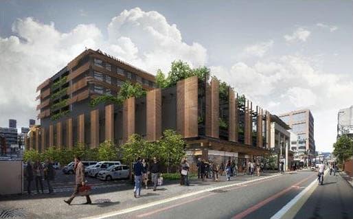 新風館跡地の再開発計画であるエースホテル京都・商業施設情報(東洞院通側エントランスのイメージ図)