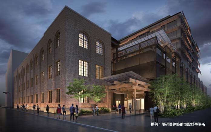 新風館跡地の再開発計画であるエースホテル京都・商業施設情報(烏丸通側エントランスのイメージ図)