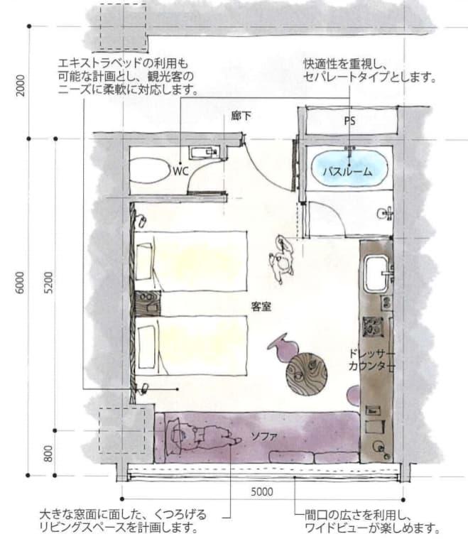 JR新今宮駅前の星野リゾートの都市観光ホテル情報(客室スタンダードプランの平面図)