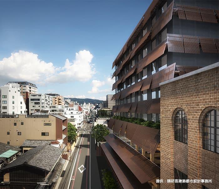 新風館跡地の再開発計画であるエースホテル京都・商業施設情報(街との調和をめざした外観(完成予想図)のイメージ図)