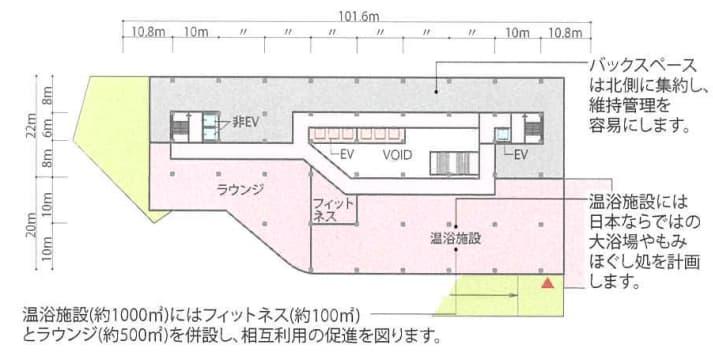 JR新今宮駅前の星野リゾートの都市観光ホテル情報(3階平面図)