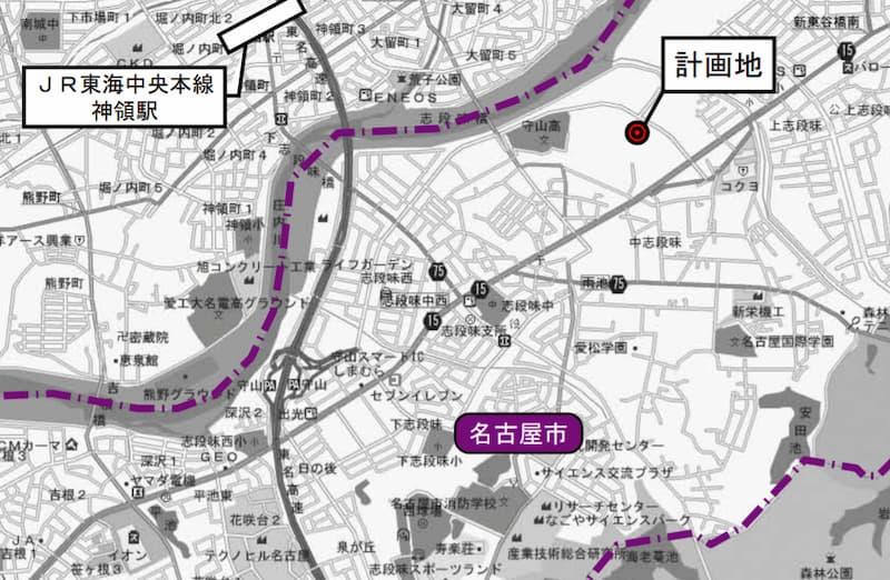 コストコ 守山倉庫店 広域位置図