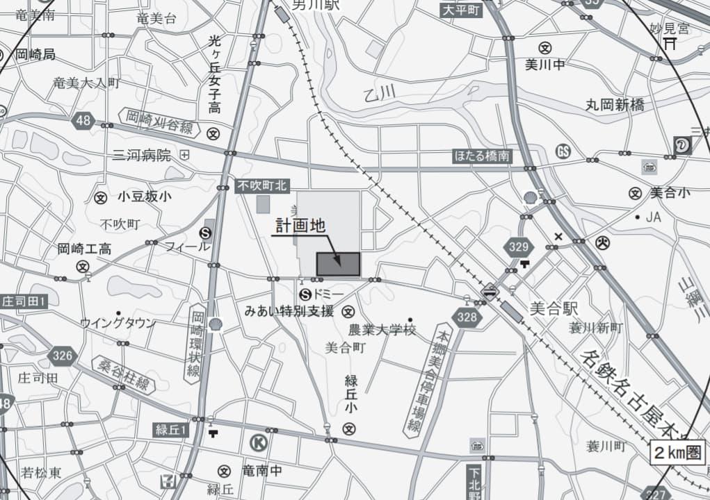 広域見取図/商圏範囲図│(仮称)イオンタウン岡崎美合 愛知県