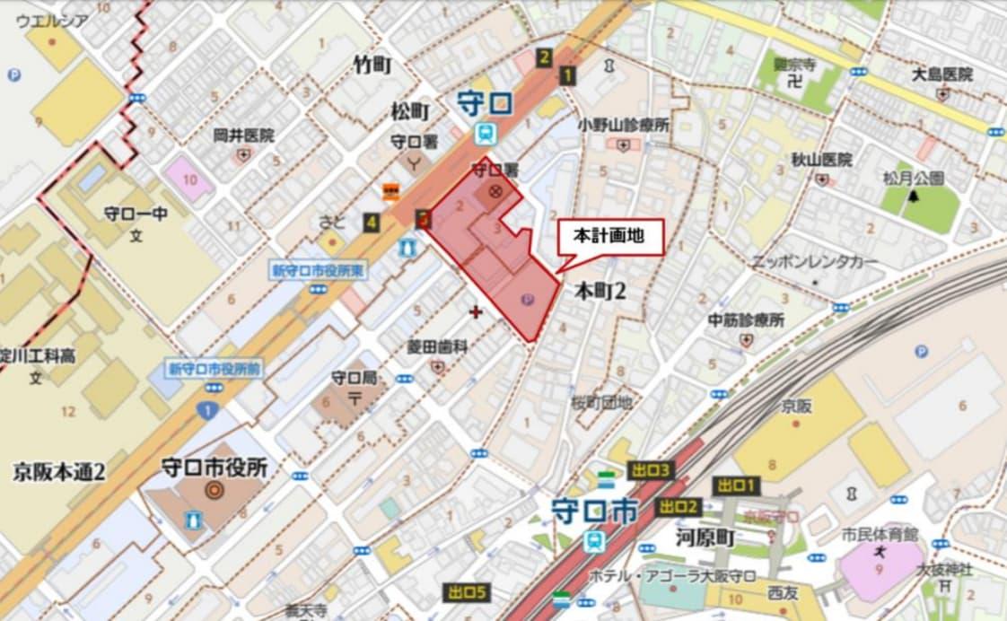 大阪府守口市 イオンタウン(建設地の詳細地図)